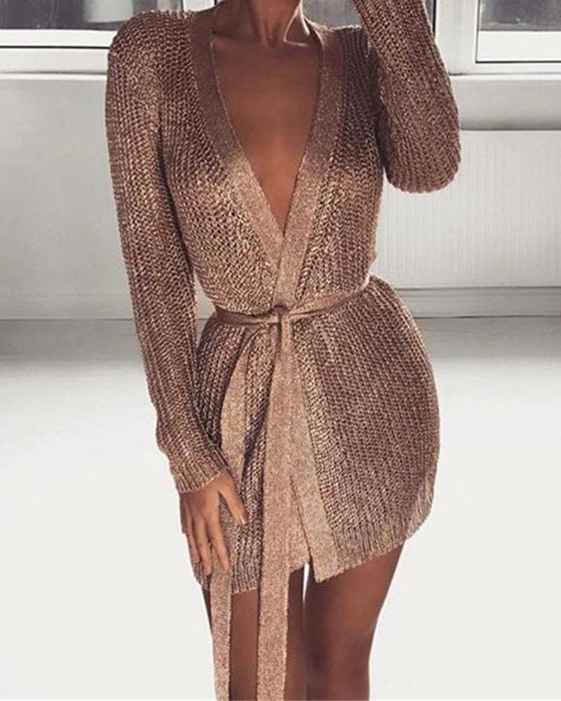 Glitter Long Sleeve Tight Waist Dress