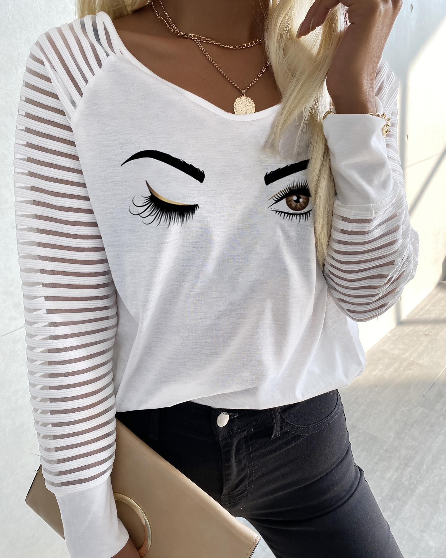 V-Neck Eye Print Mesh Long Sleeve Top