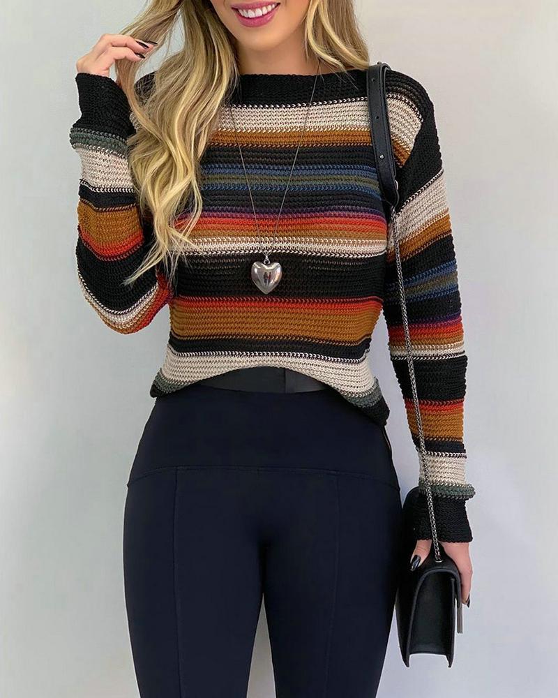 Colorblock Long Sleeve Casual Sweater thumbnail