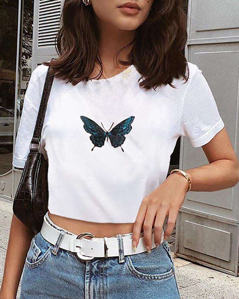 Butterfly Embroidery Round Neck T-shirt thumbnail
