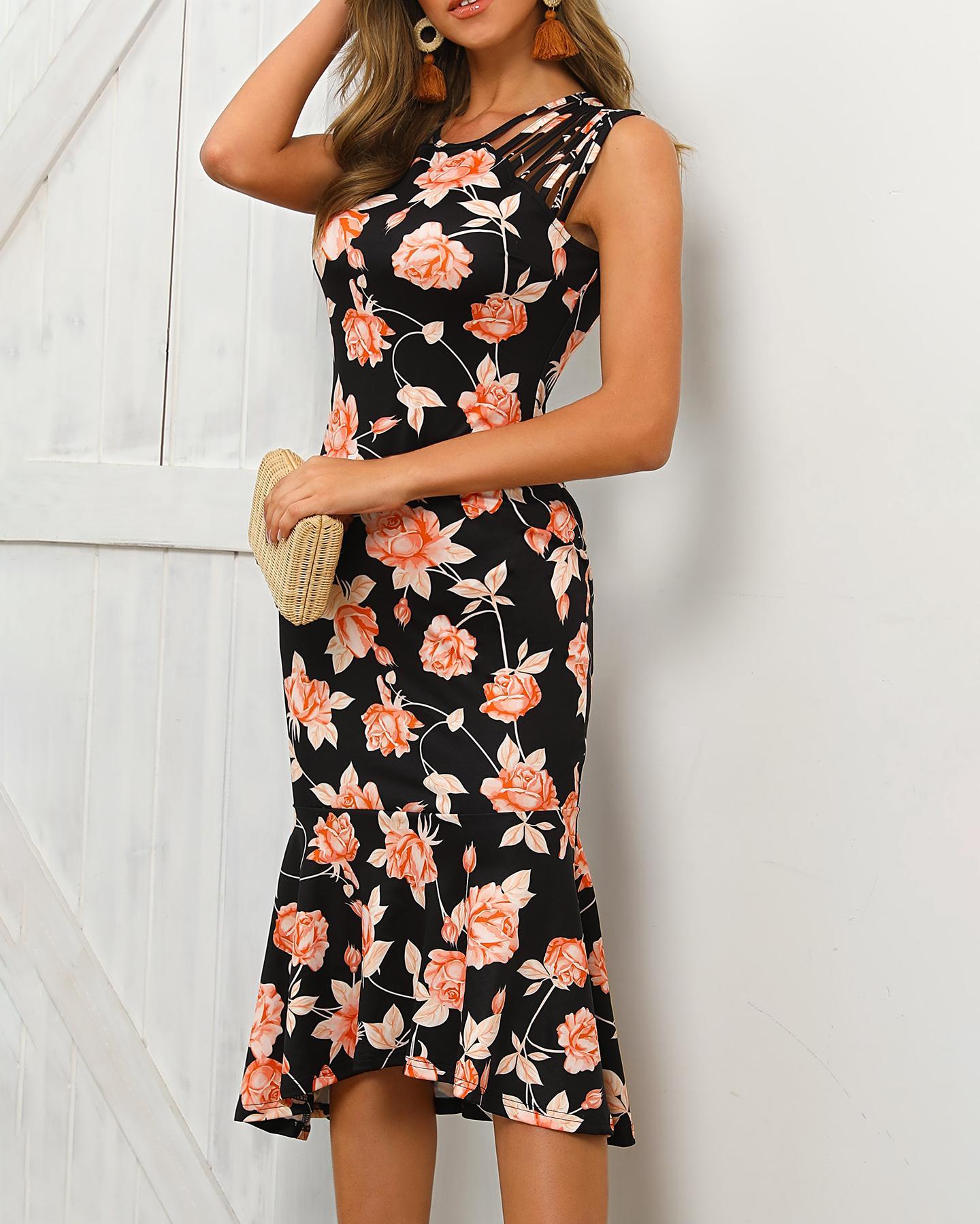 Floral Print Multi-Strap Pep Hem Dress thumbnail