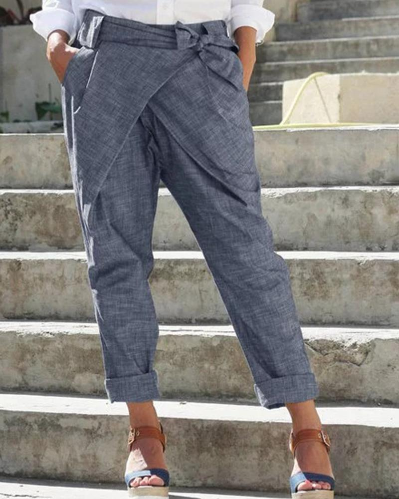 Solid Bow Cigarette Long Pants thumbnail