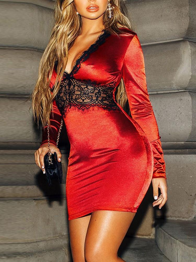 Eyelash Lace Insert Plunging Bodycon Dress