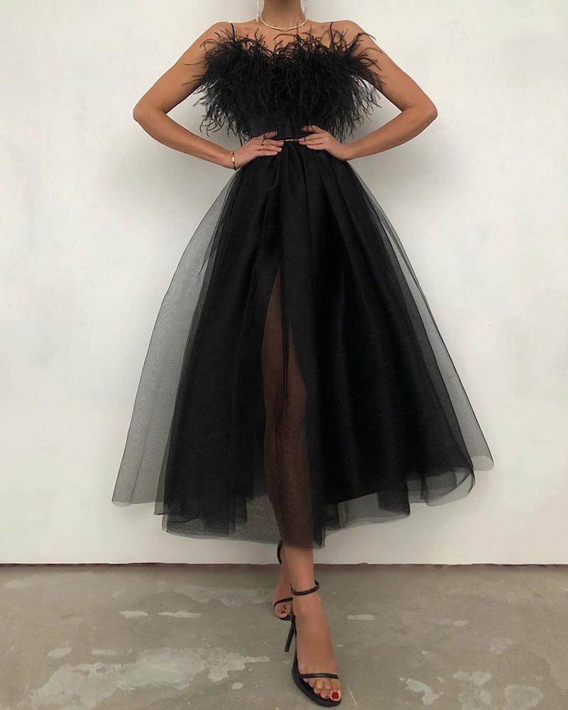 Feather Detail Off Shoulder Sheer Mesh Dress