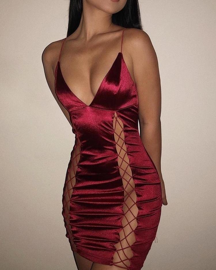 766e7840fc0b Deep V-Neck Lace Up Sheath Slip Party Dress Online. Discover hottest ...