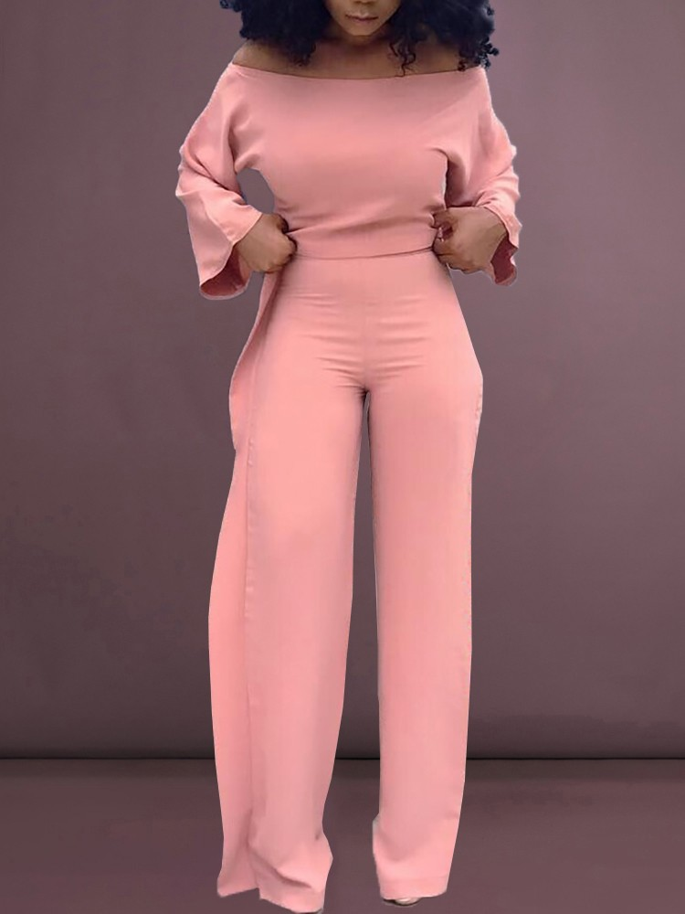 boutiquefeel / Solid Off Shoulder Top & Ruffles Design Pant Sets
