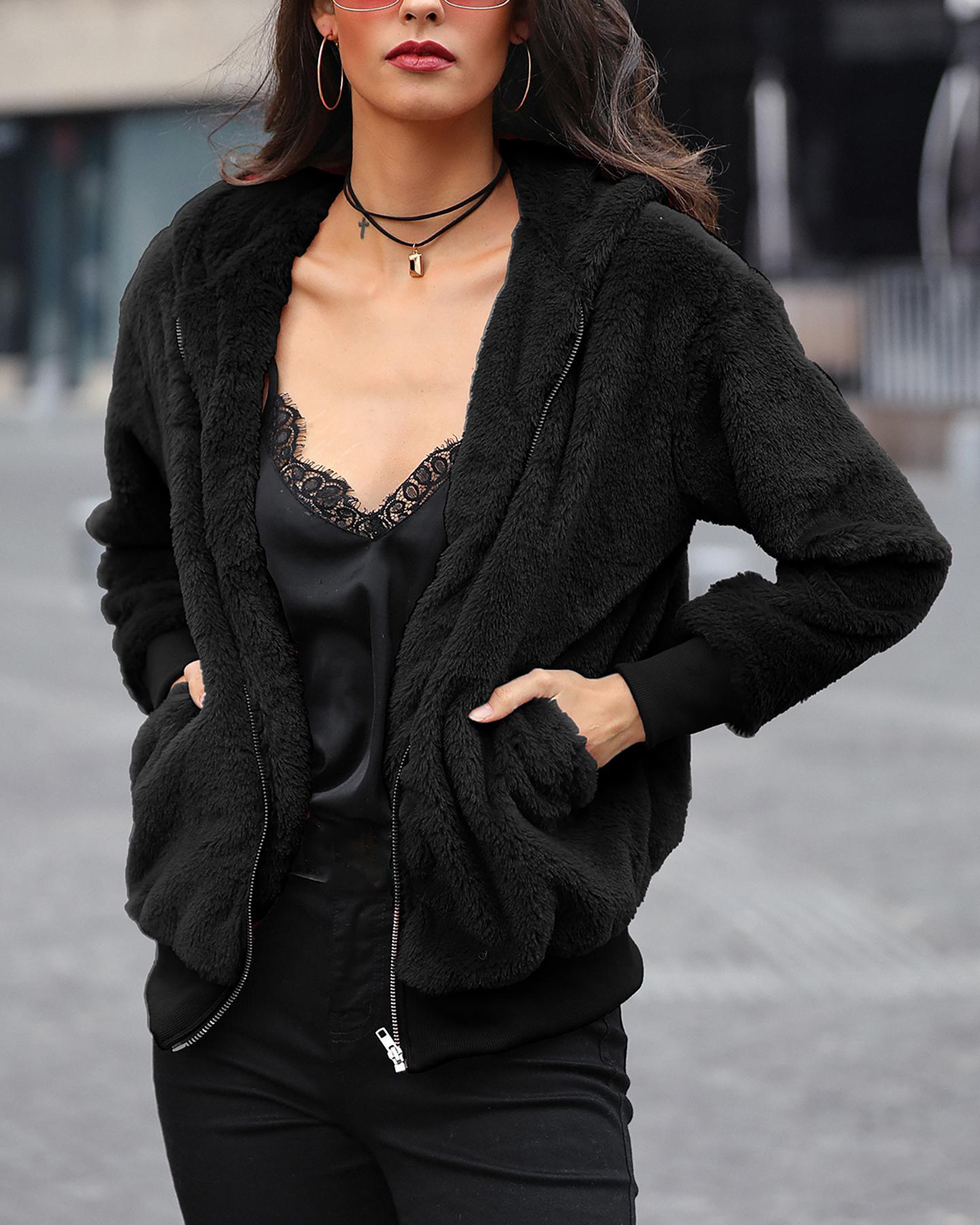 Plush Rabbit Fur Faux Fur Coat, Black