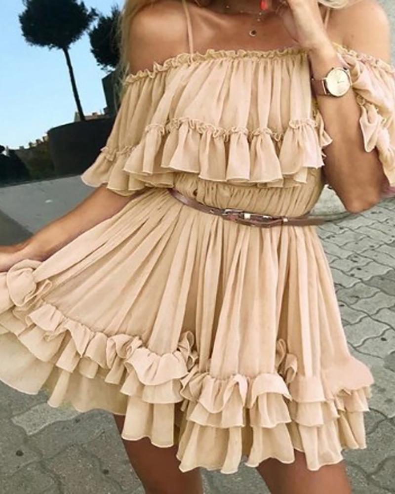 Cold Shoulder Frill Layered Ruffles Dress thumbnail