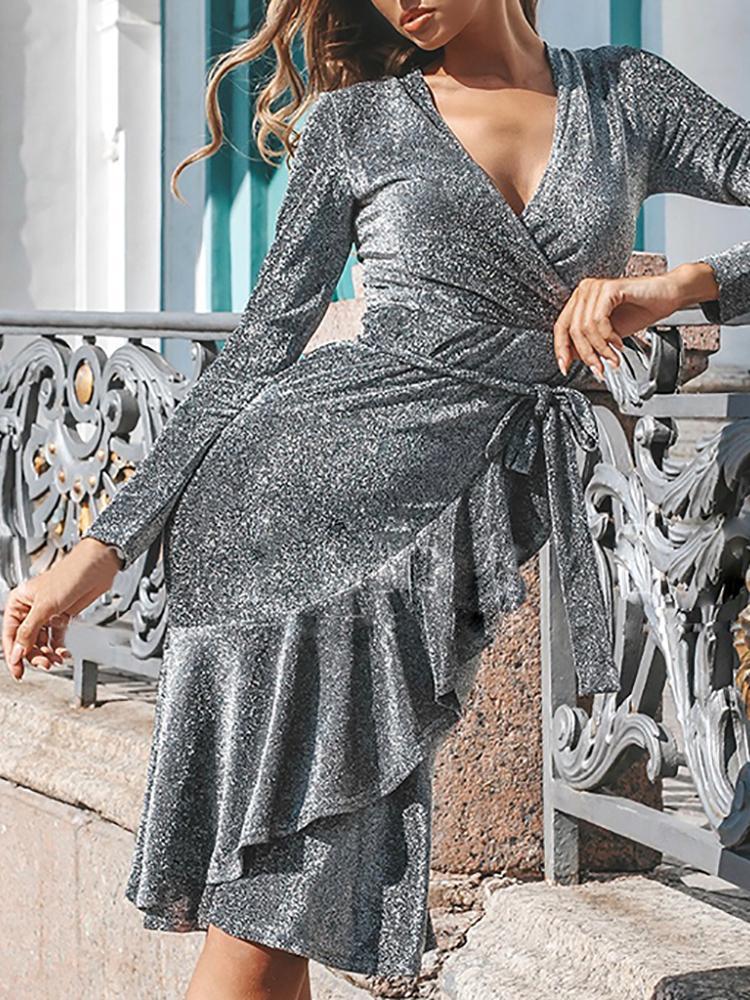 5db598af68bf Shiny V-Neck Ruffles Design Belted Dress Online. Discover hottest trend  fashion at chicme.com
