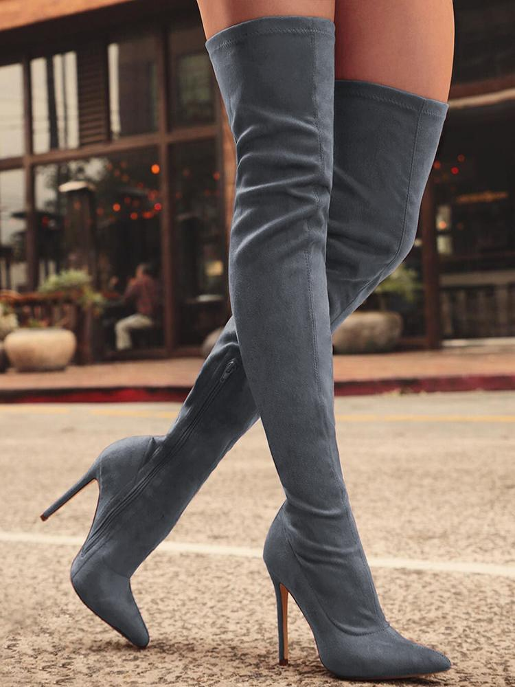 Joyshoetique coupon: Knee-High Pointed Toe Heels Red Boots - Gray