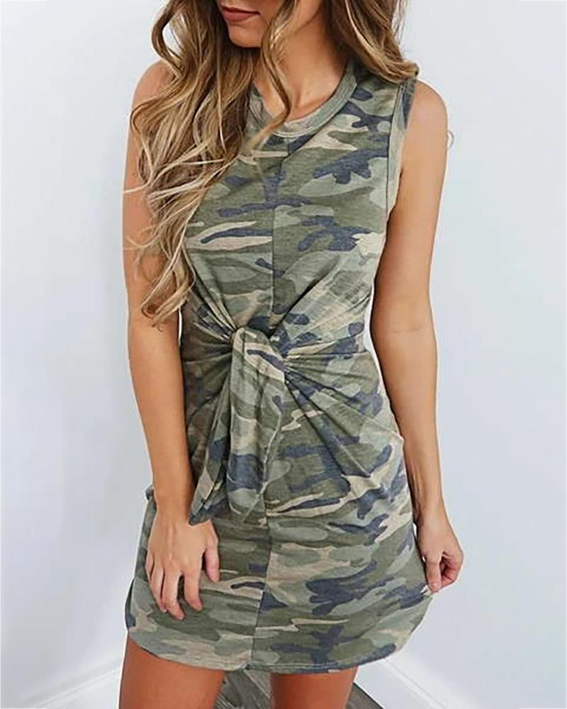 Camouflage Print Knotted Casual Dress thumbnail