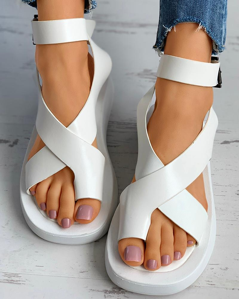 Toe Ring Slingback Buckled Muffin Sandals thumbnail