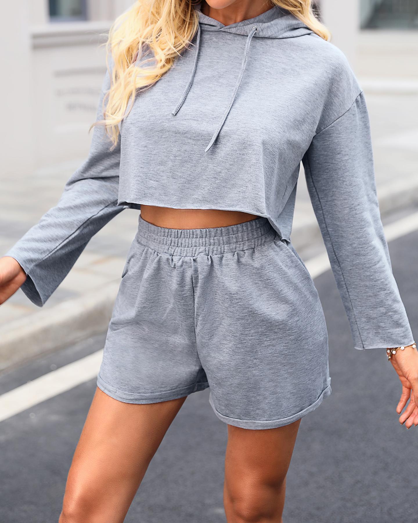 Hooded Long Sleeve Solid Top & Short Set thumbnail