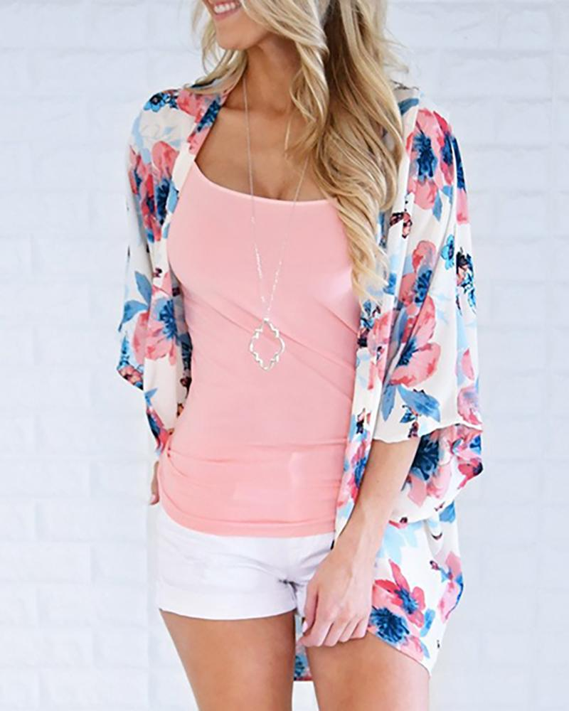 Floral Print Long Sleeve Cover Up, boutiquefeel, white  - buy with discount