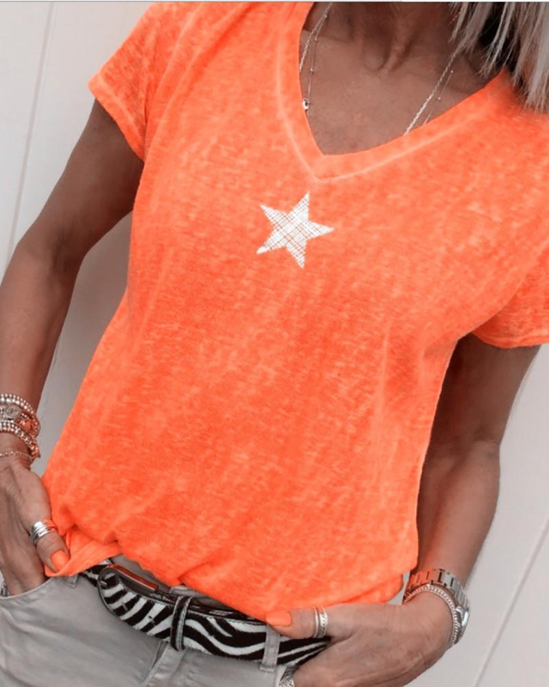 Star Print V-neck Casual T-shirt thumbnail