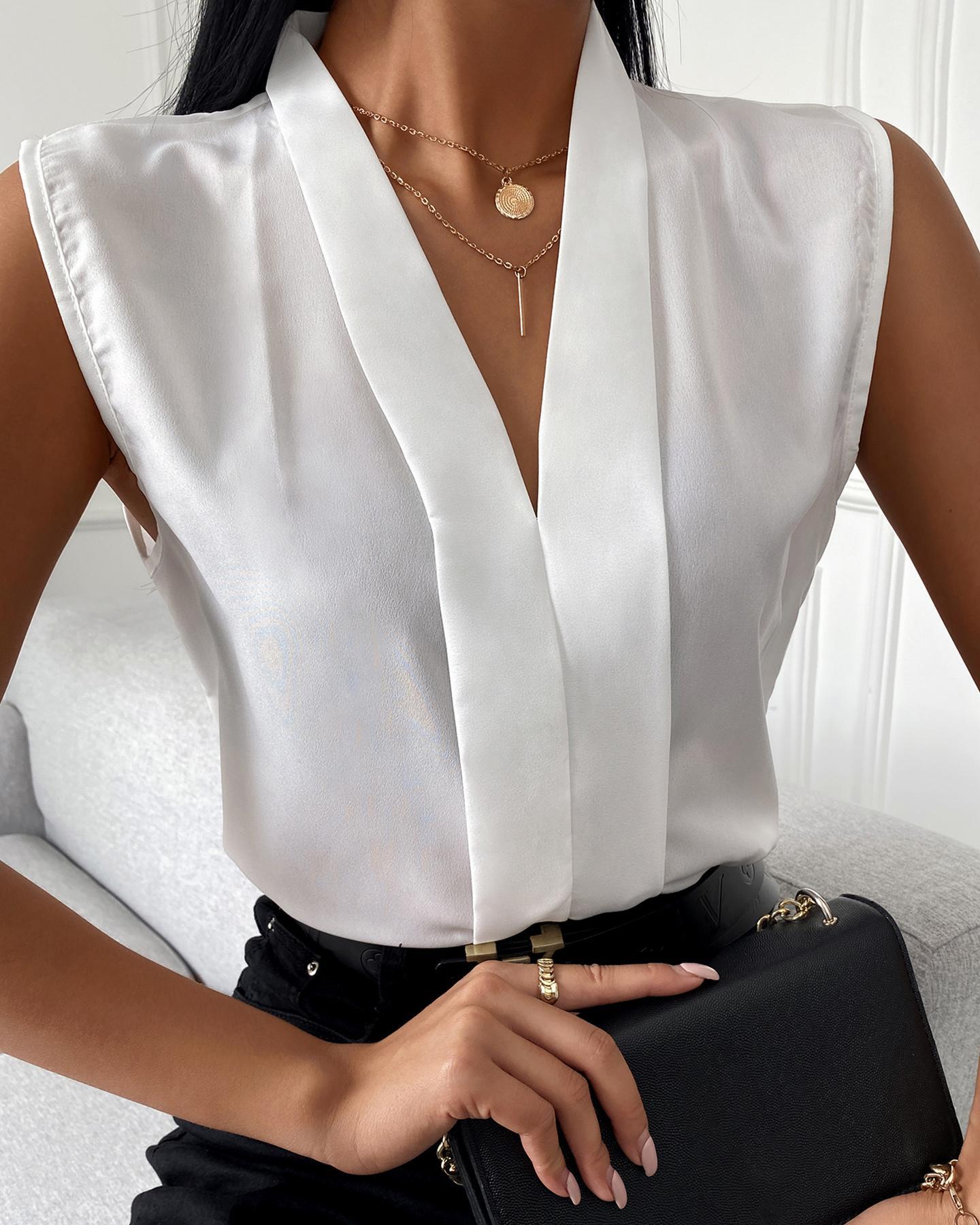 Sleeveless V-Neck Plain Casual Top, White