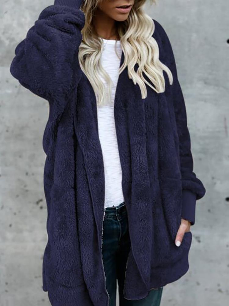 Joyshoetique coupon: Warm Solid Pocket Design Hoodies Fluffy Oversized Jacket - Dark Blue