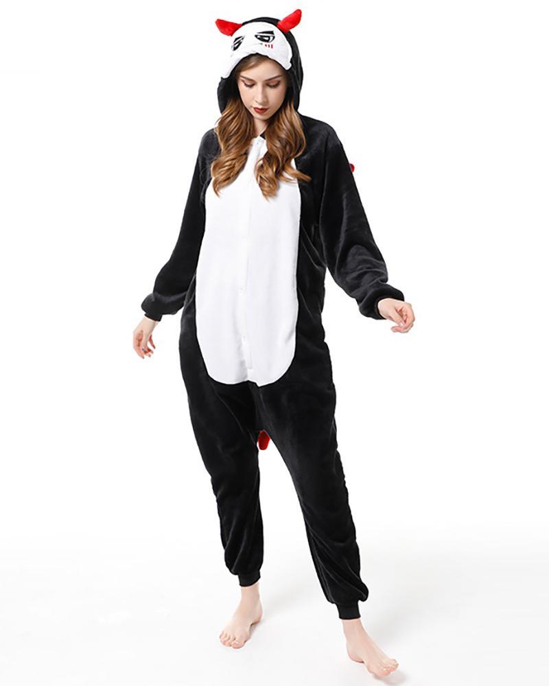 Devil Pattern Hooded Onesie Pajamas, Black