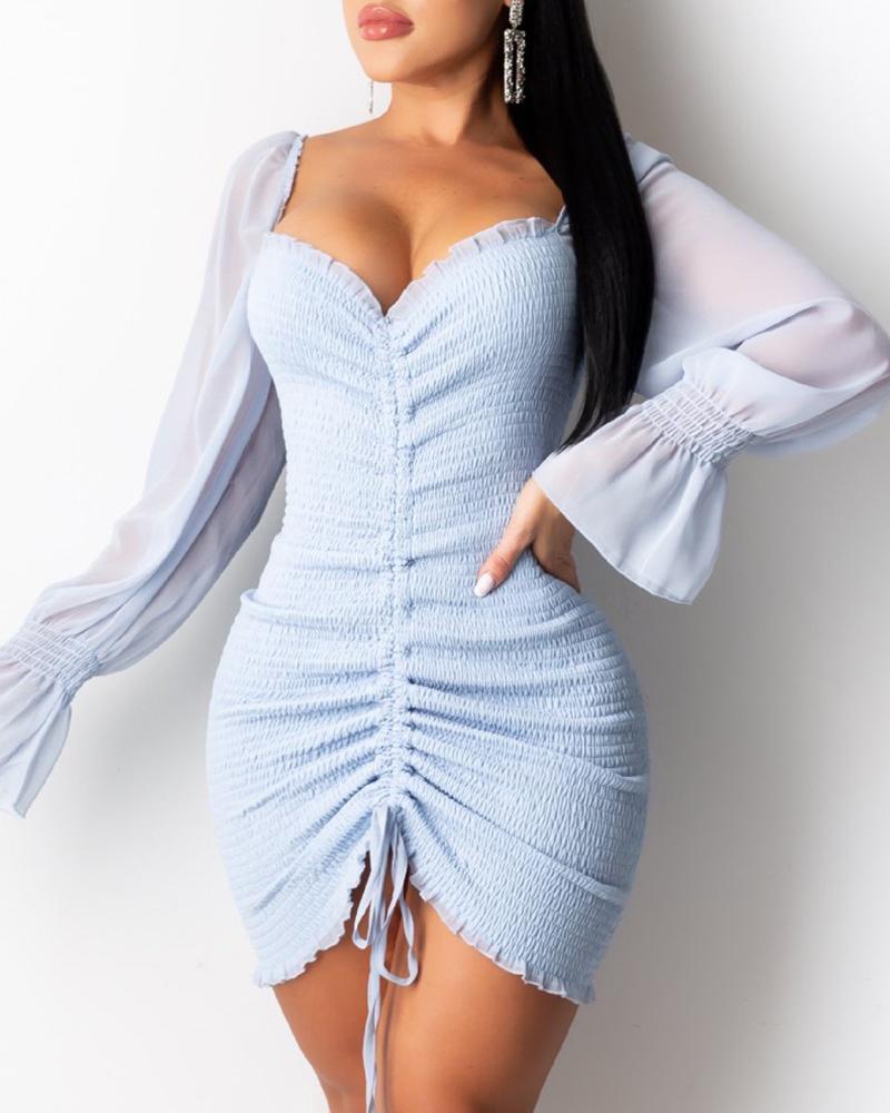 Shirring Ruched Frill Hem Long Sleeve Dress thumbnail
