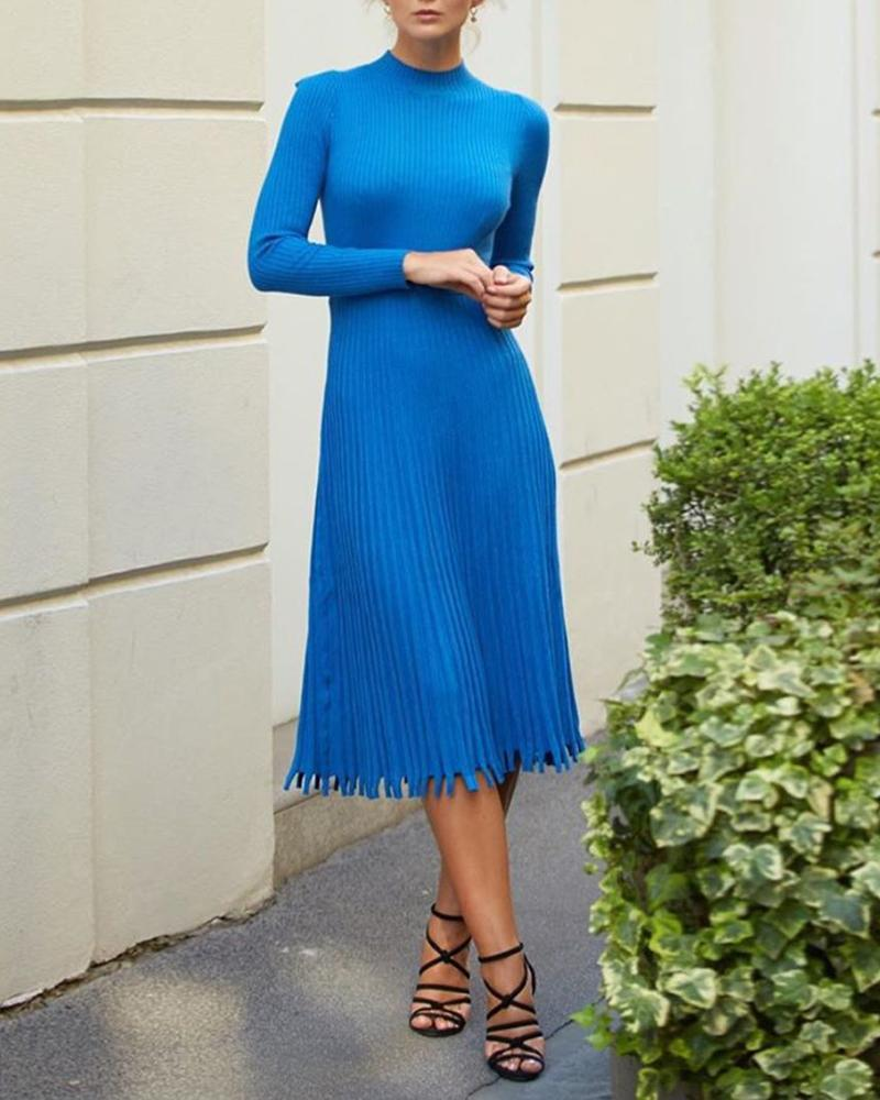 Long Sleeve Knit Ruched Long Sleeve Dress thumbnail
