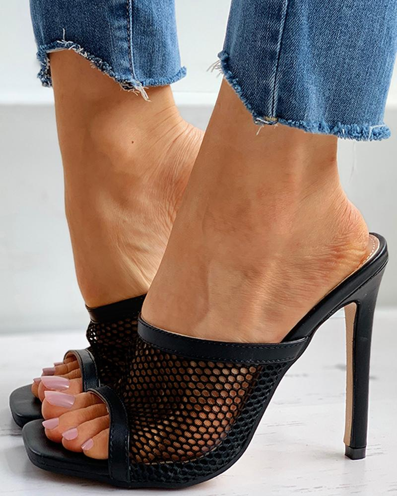 Hollow Out Square Toe Mule Sandals thumbnail