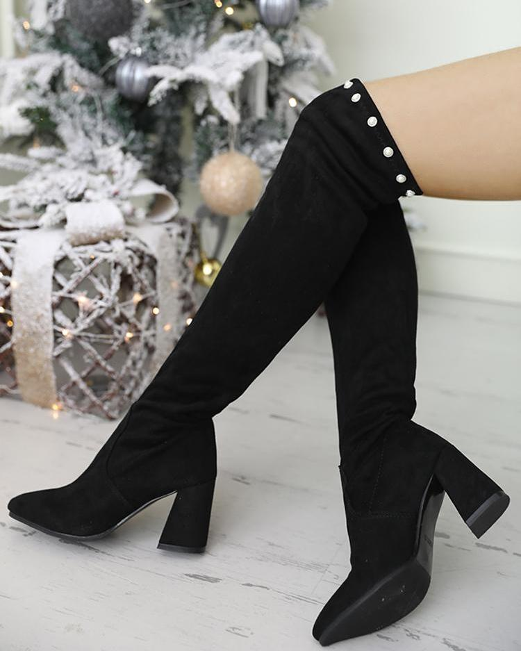 Beaded Detail Over Knee Chunky Heel Boots
