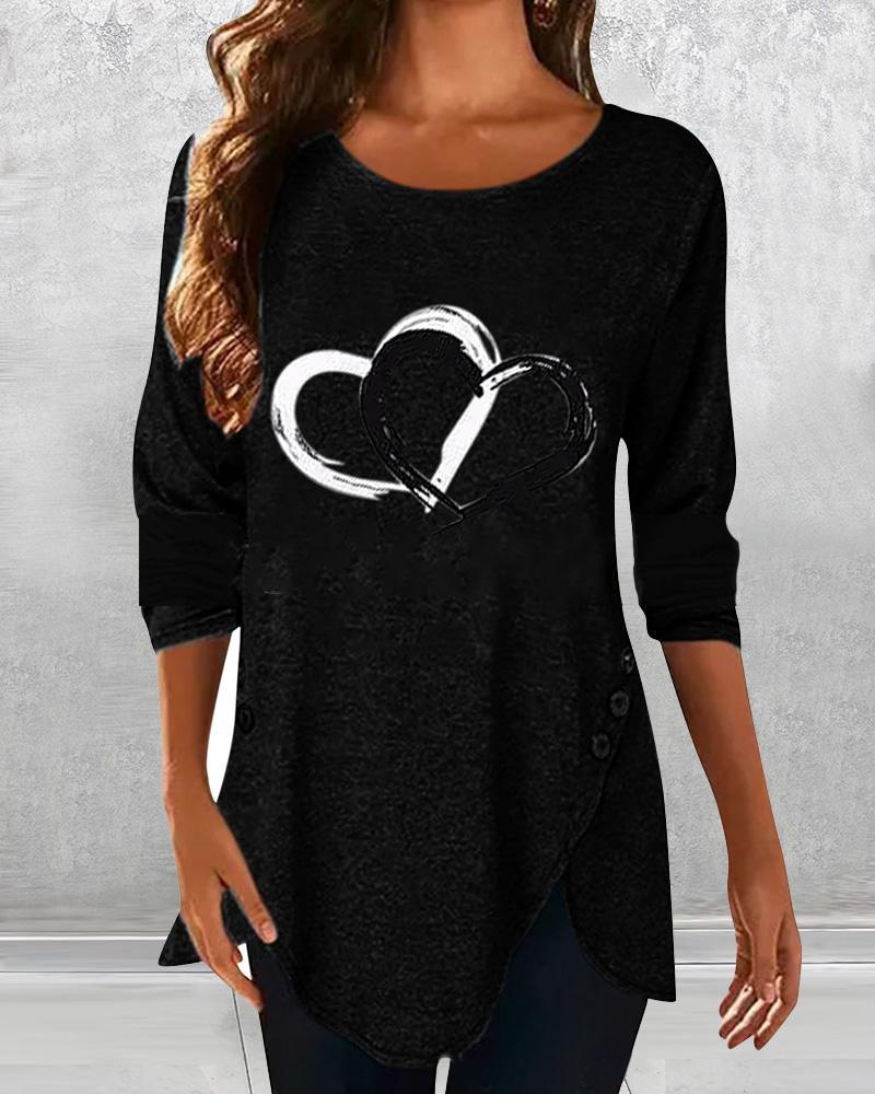 Heart Print Long Sleeve Blouse