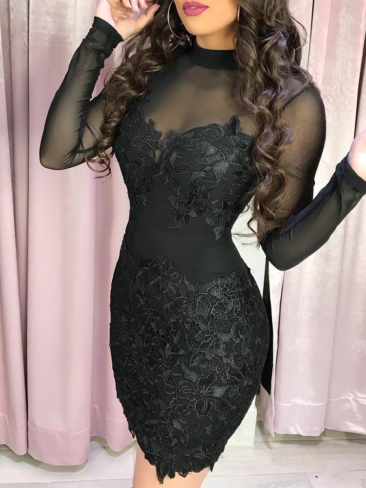 boutiquefeel / Sheer Mesh Flower Applique Bodycon Dress