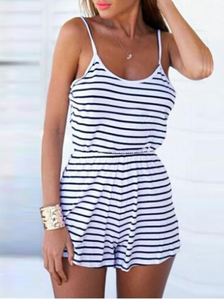 96f7c3a478d Casual Backless Spaghetti Strap Striped Romper Online. Discover hottest  trend fashion at chicme.com