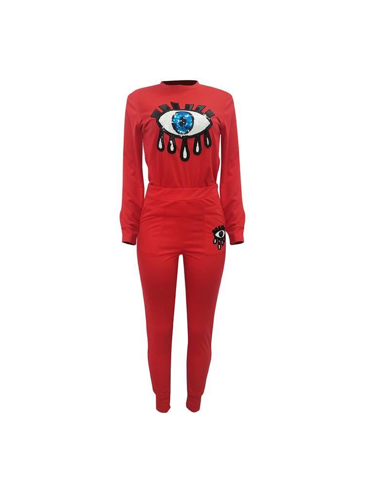 boutiquefeel / Sequin Eyes Applique Top & Pant Sets