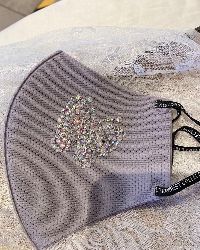Glitter Butterfly Pattern Studded Breathable Mouth Mask thumbnail
