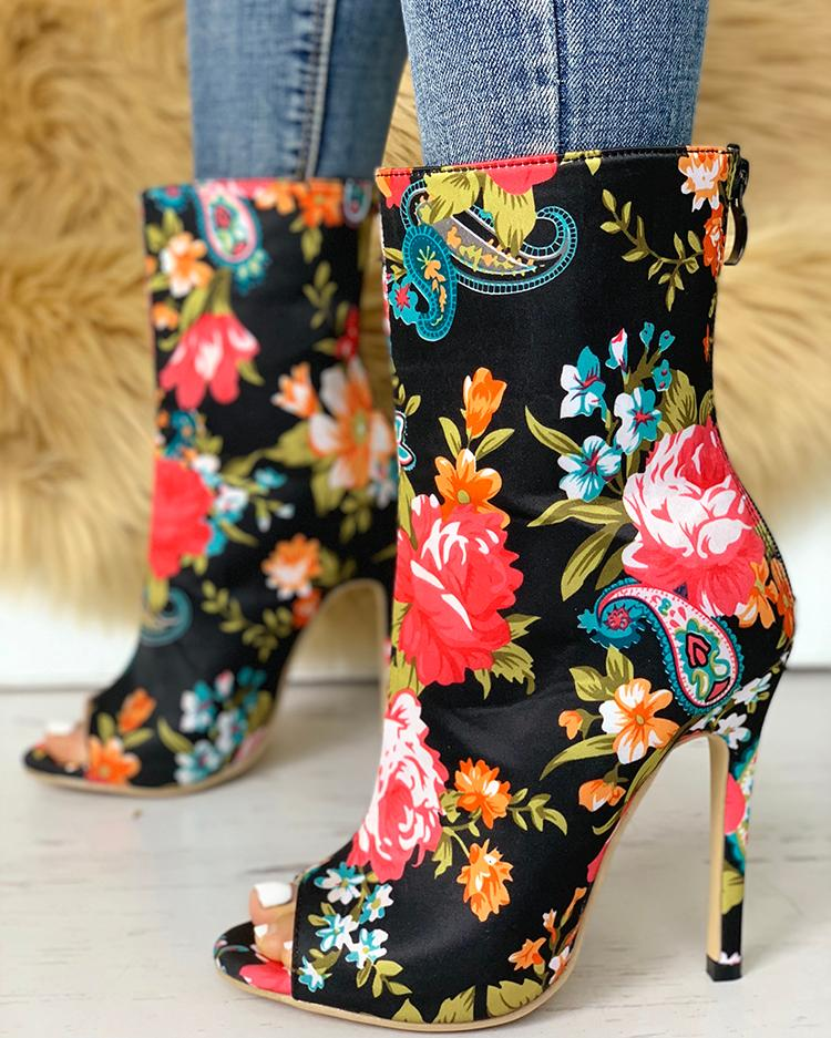 447deb342560 Floral Peep Toe Thin Heeled Boots Online. Discover hottest trend fashion at  chicme.com