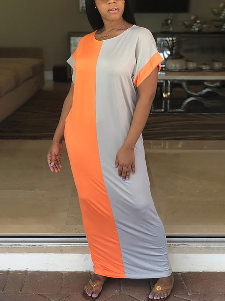 316ec8931e4 Contrast Color Loose T-shirt Maxi Dress Online. Discover hottest trend  fashion at chicme.com