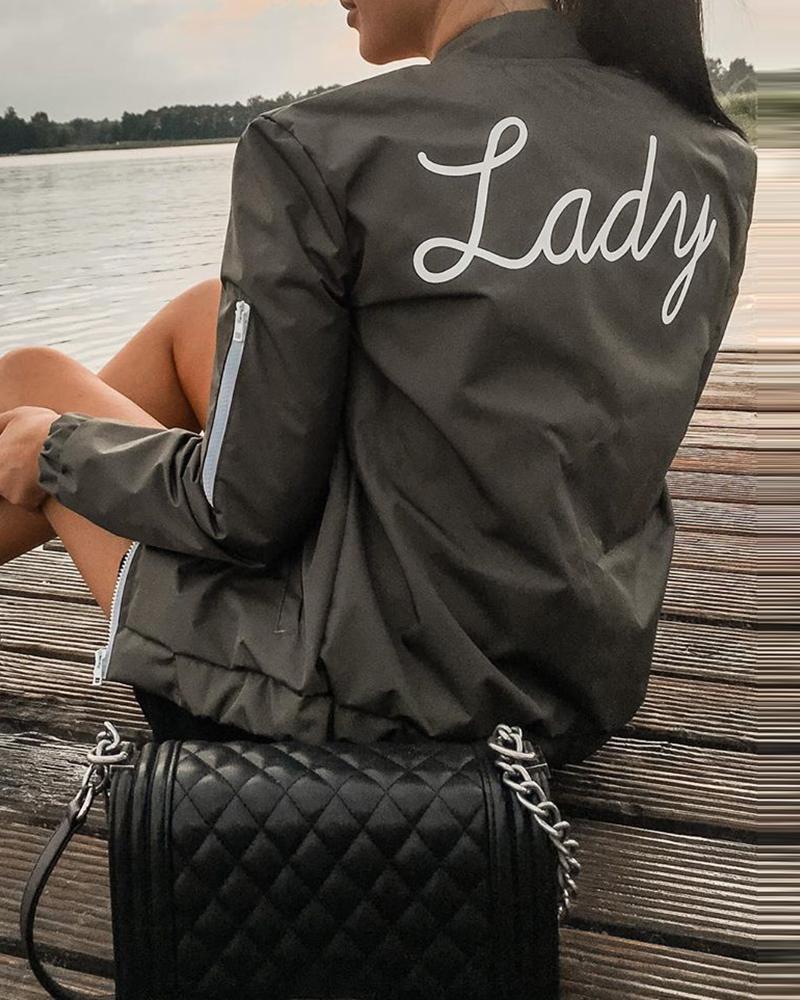 Letter Print Zipper Design Long Sleeve Jacket thumbnail