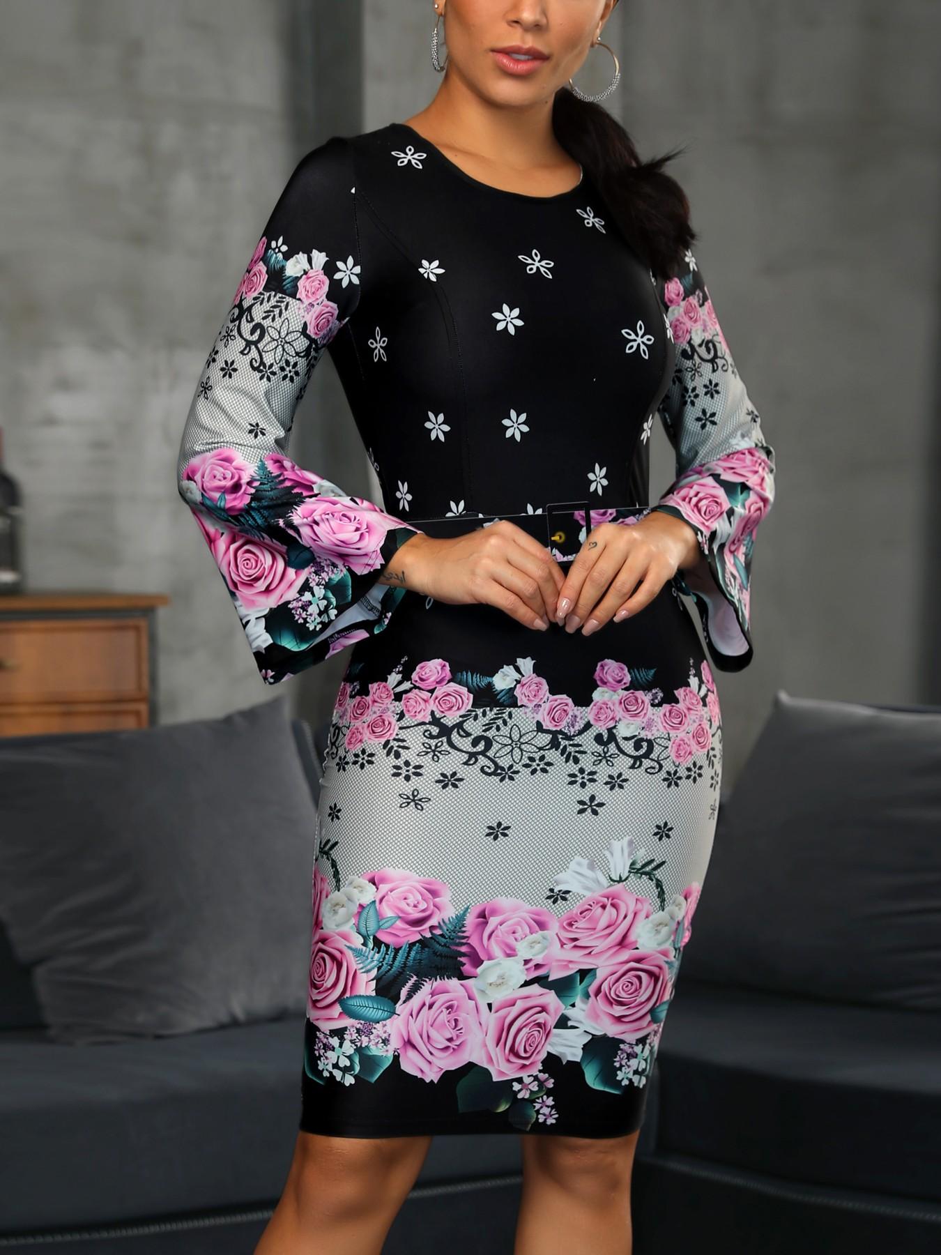 675ea8303b4 Floral Print Long Sleeve Bodycon Dress - Data Dynamic AG