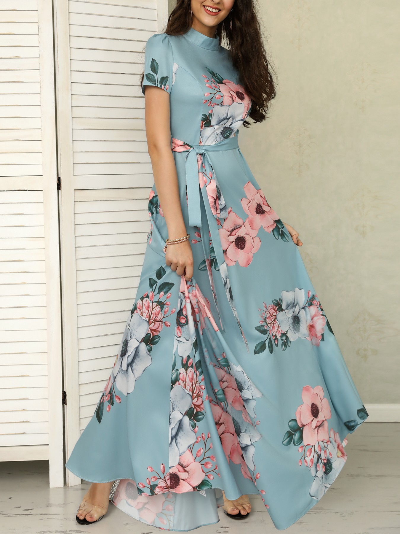 boutiquefeel / Floral Print Short Sleeve Tie Waist Maxi Dress
