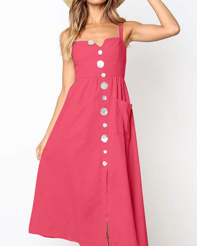 Thin Strap Button Pocket Design Casual Dress