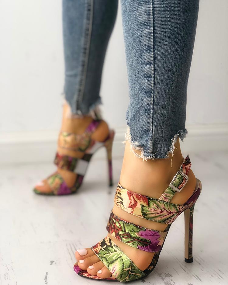 b0fc22cd439 Leaf Print Bandage Thin Heeled Sandals