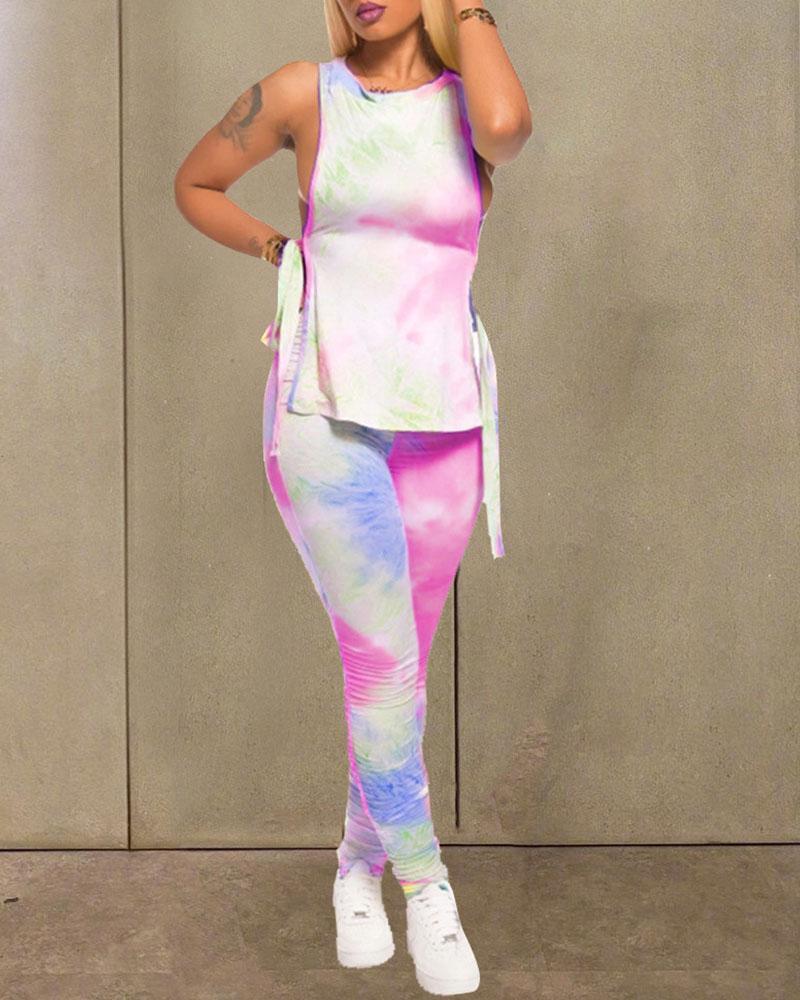 Tie Dye Print Side Slit Top & Pant Set thumbnail