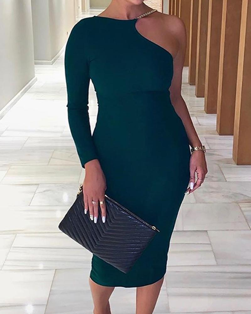 One Shoulder Bodycon Midi Dress by Chic Me