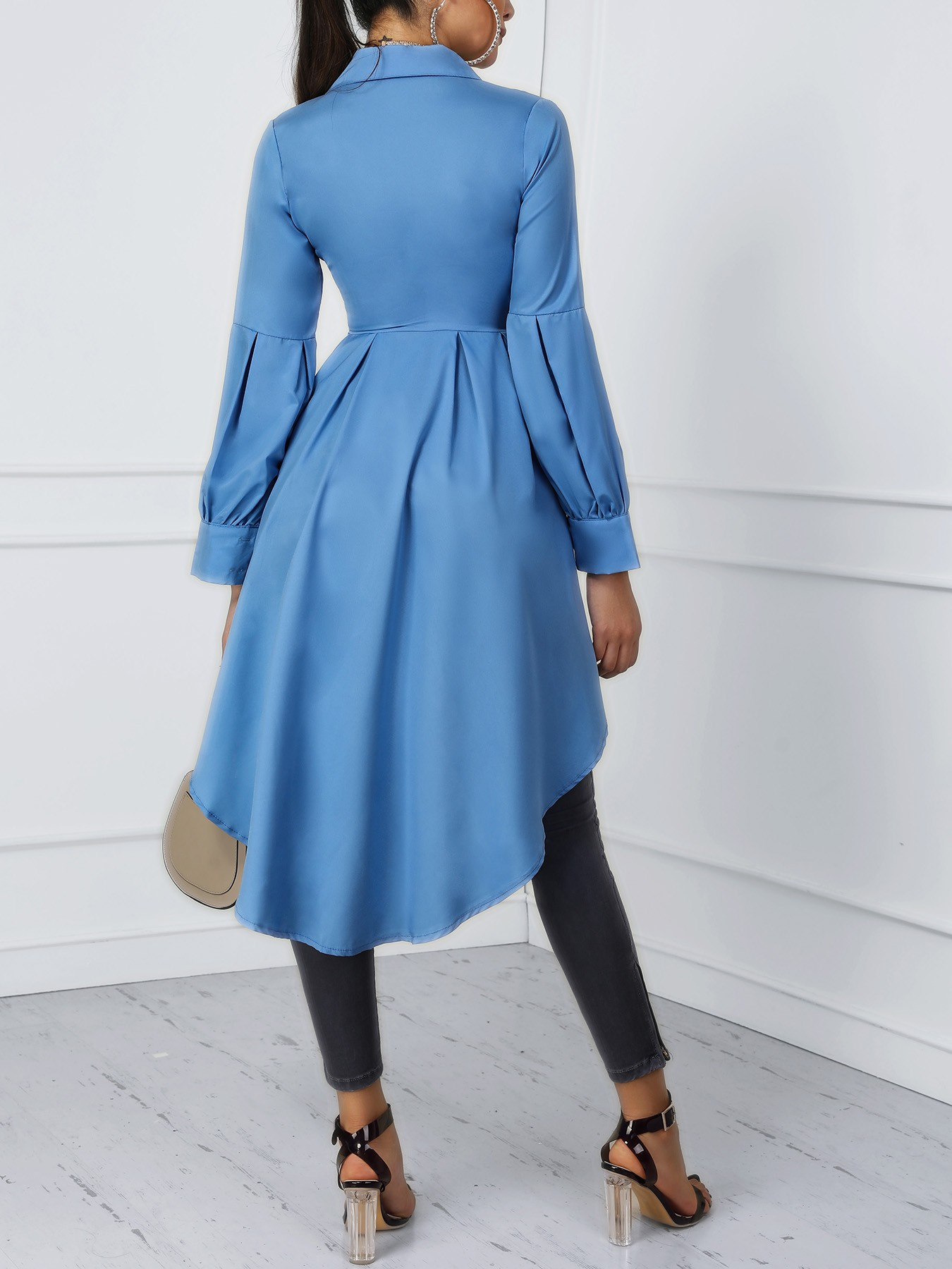 boutiquefeel / Lantern Sleeve Button Design Dip Hem Blouse
