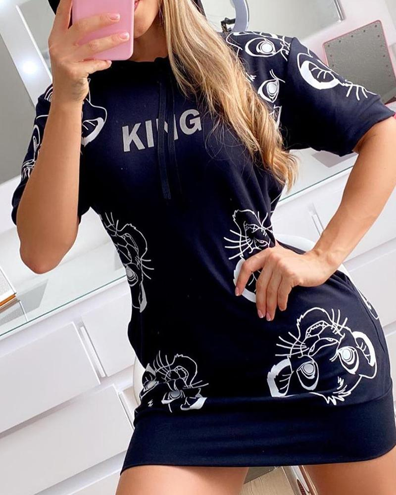 Tiger Letter Print Short Sleeve Hooded T-shirt Dress thumbnail