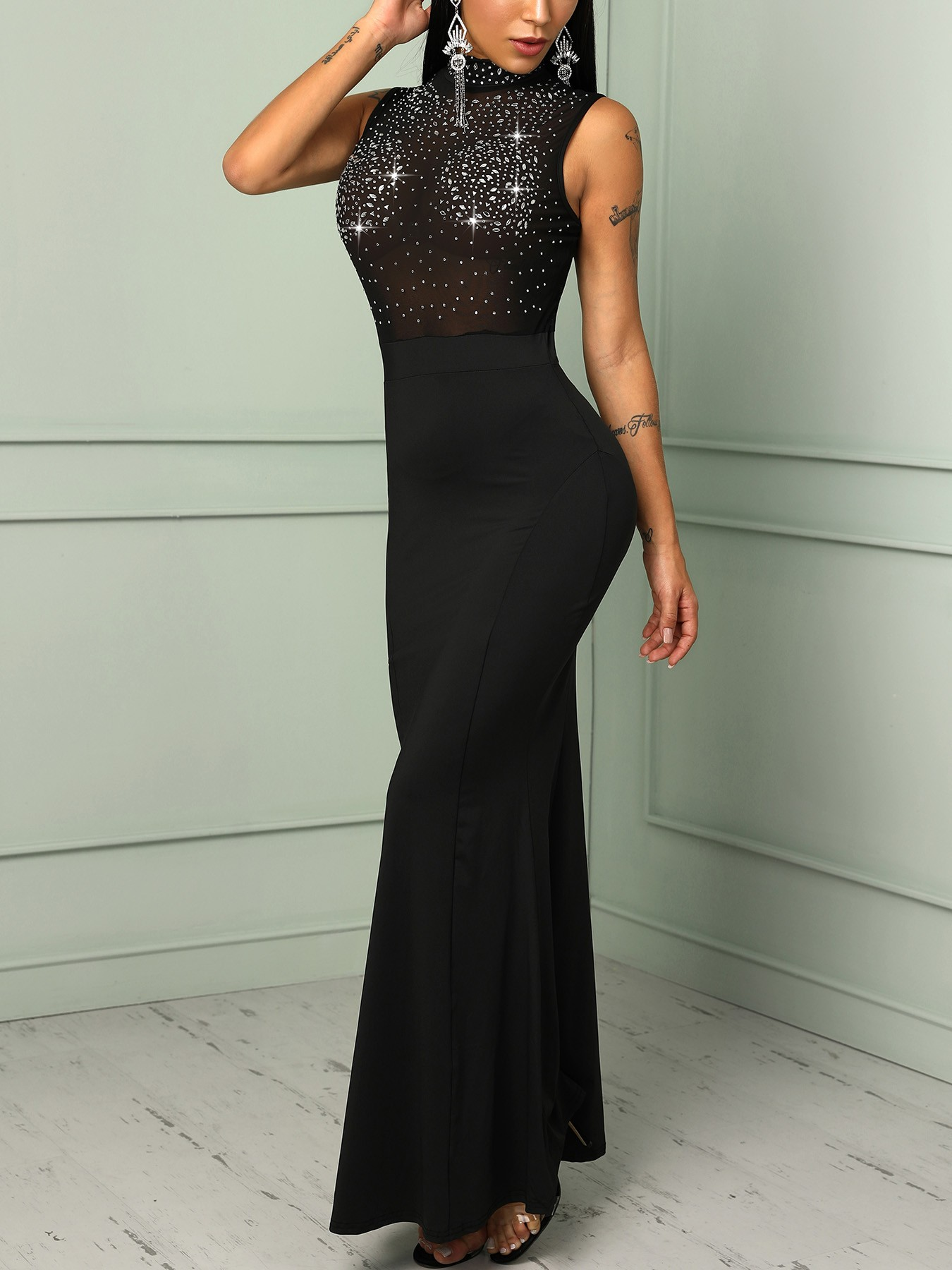 boutiquefeel / Mesh Splicing Hot Stamping Bodycon Evening Dress