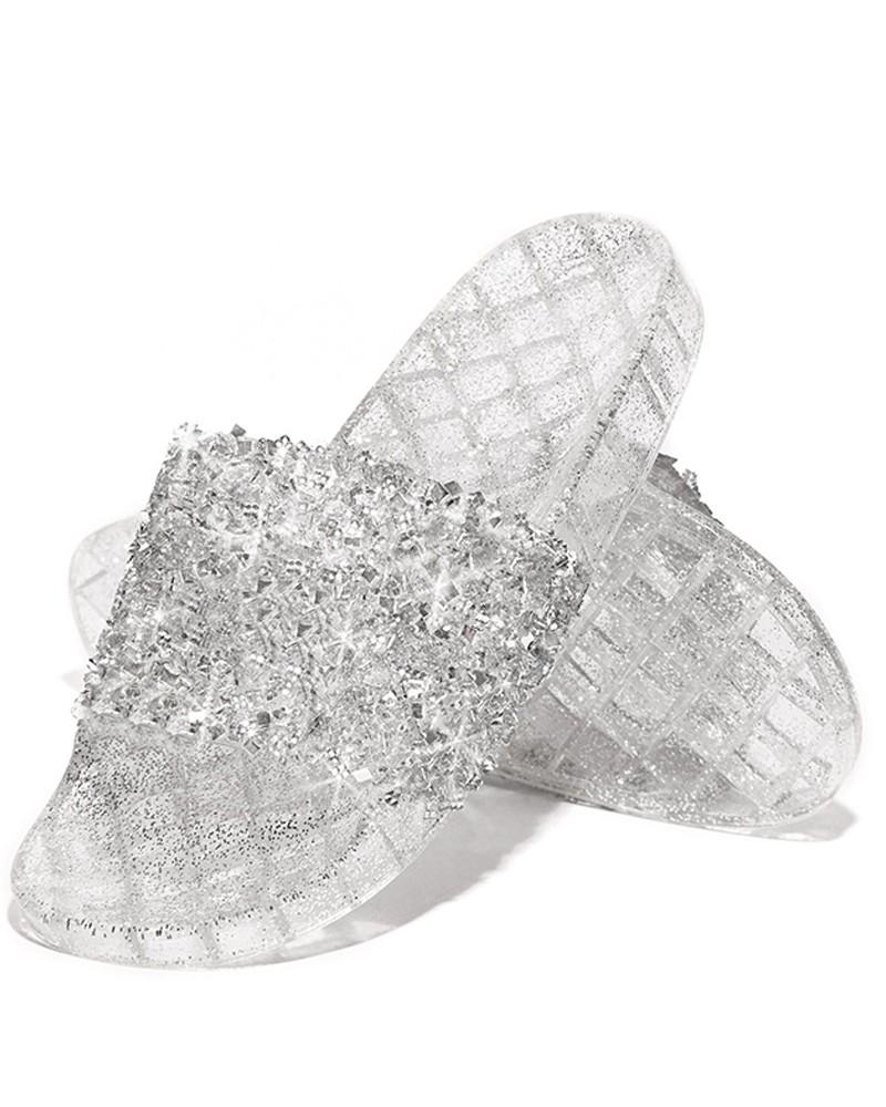Toe Glitter Studded Sandals Open Flat QordCxBeW