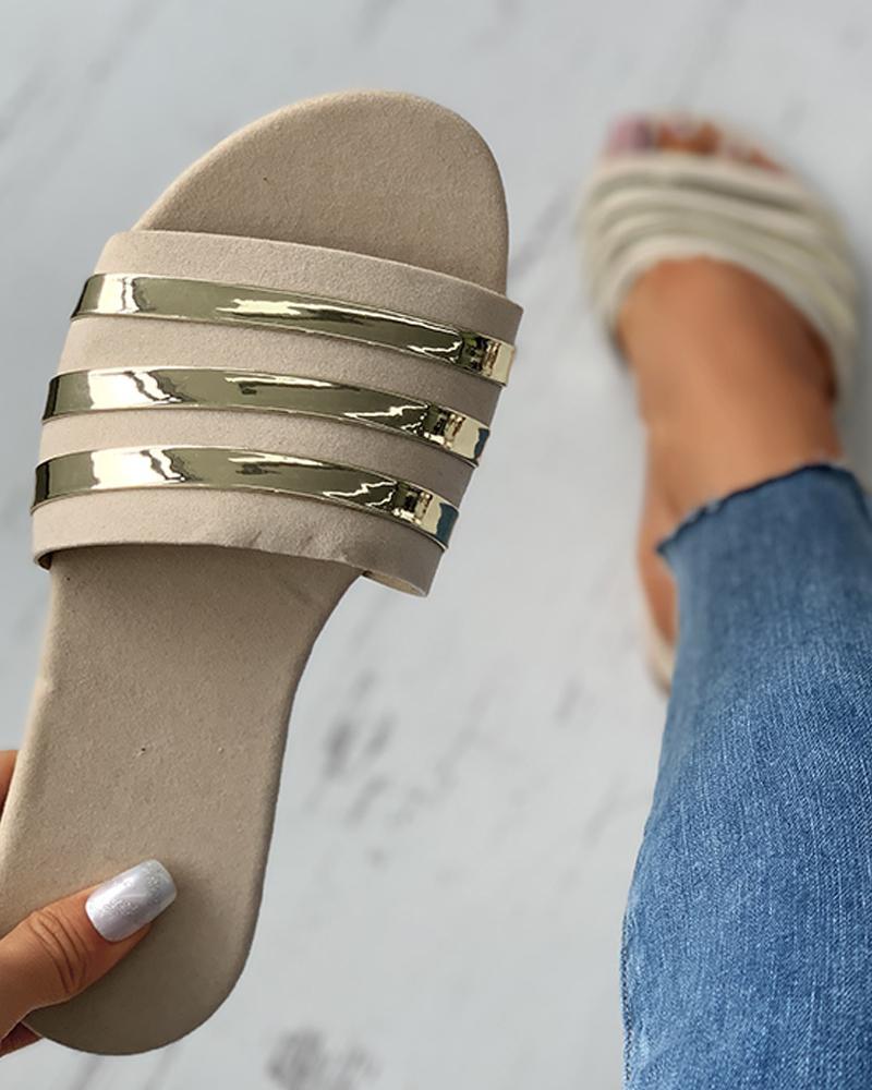 Colorblock Open Toe Reflective Detail Flat Sandals thumbnail