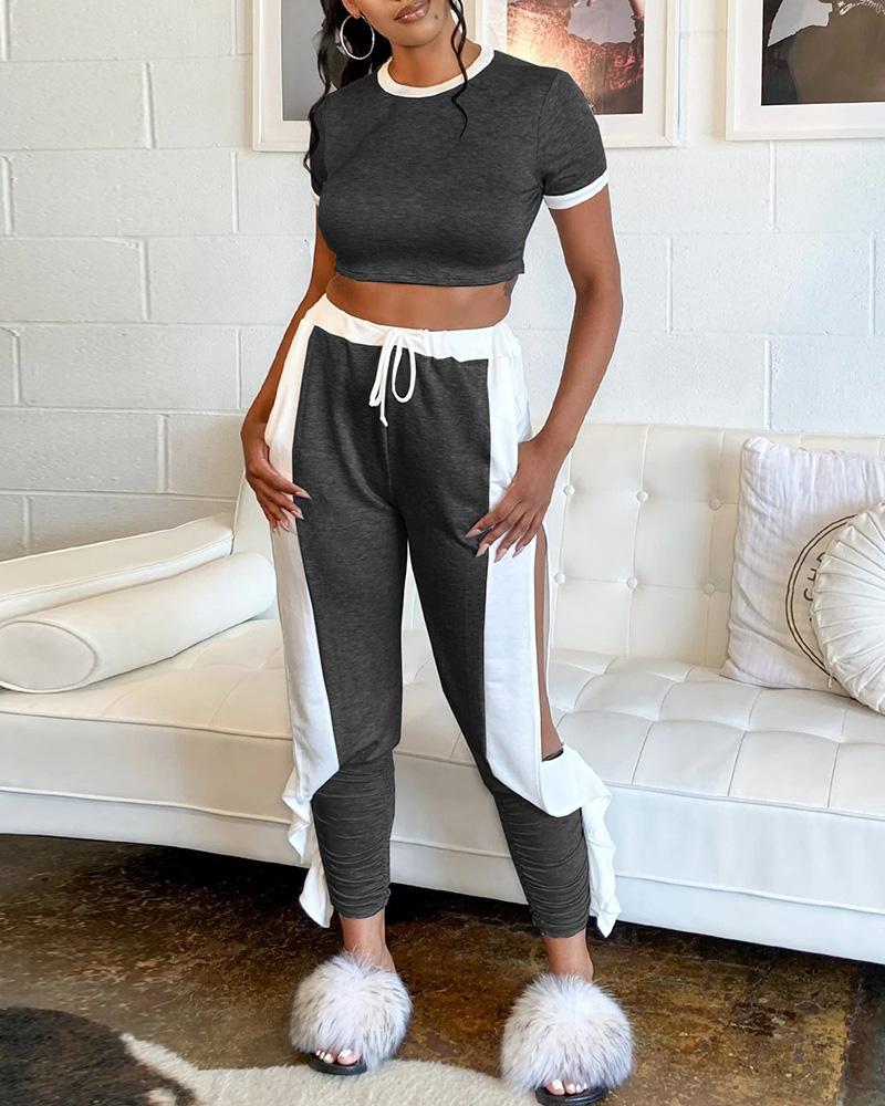 Contrast Binding Crop Top & Slit Ruffles Pants Set thumbnail