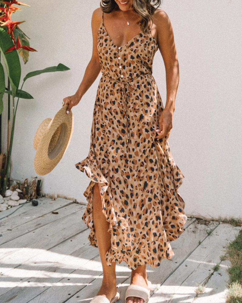 Spaghetti Strap Leopard Ruffles Halter Slit Maxi Dress thumbnail