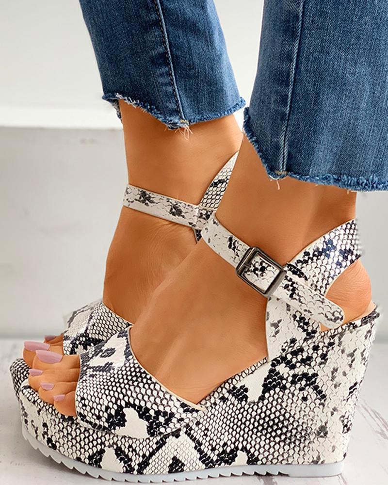 Snakeskin Print Peep Toe Buckled Wedge Sandals thumbnail