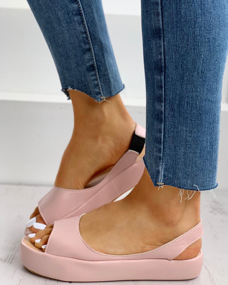 Candy Color Peep Toe Slingback Sandals thumbnail
