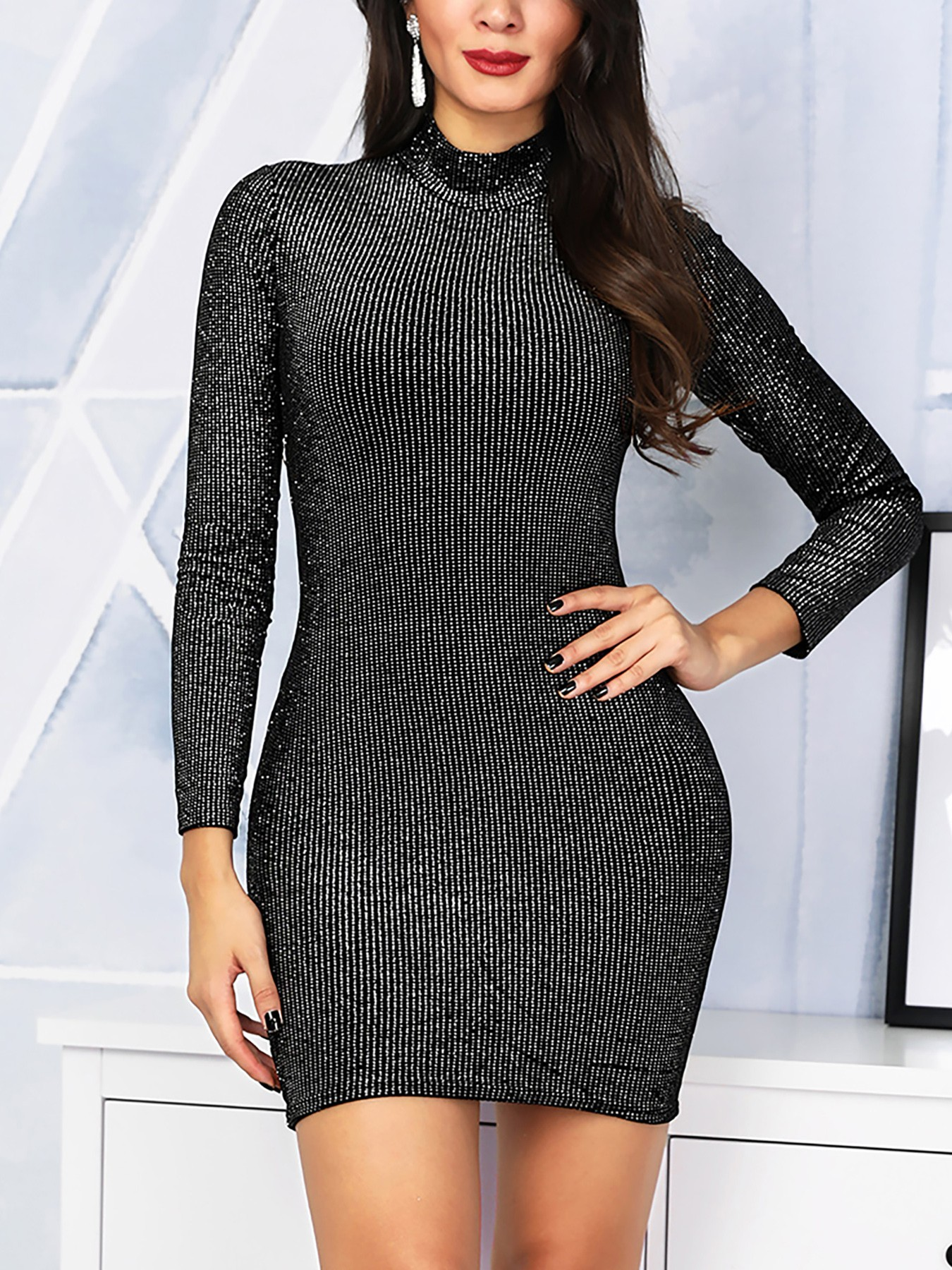 boutiquefeel / Glitter Stripes Long Sleeve Party Dress